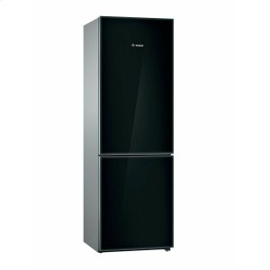 Bosch800 Series Free-standing fridge-freezer with freezer at bottom, glass door 23.5'' Black B10CB81NVB