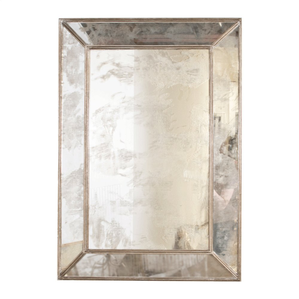 Rectangular Antique Mirror With Champagne Silver Leafed Wood Edges.