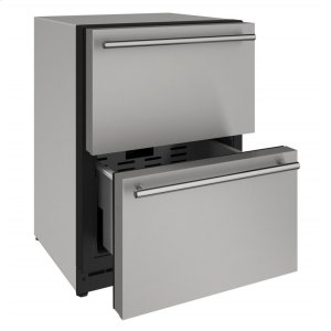 """U-Line2000 Series 24"""" Solid Refrigerator Drawers With Stainless Solid Finish and Drawers Door Swing (115 Volts / 60 Hz)"""