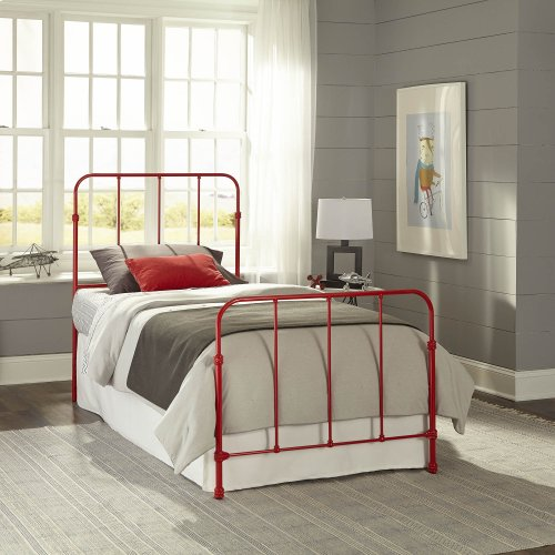 Nolan Fashion Kids Complete Metal Bed and Steel Support Frame with Fun Versatile Design, Candy Red Finish, Twin