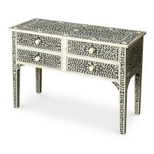 Artistic craftsmanship in a soft botanical pattern, this Console Table features consummate craftsmanship in a study of black and white. The handcrafted inlay stem to stern are created from white bone cut and individually applied in a centuries old tradit