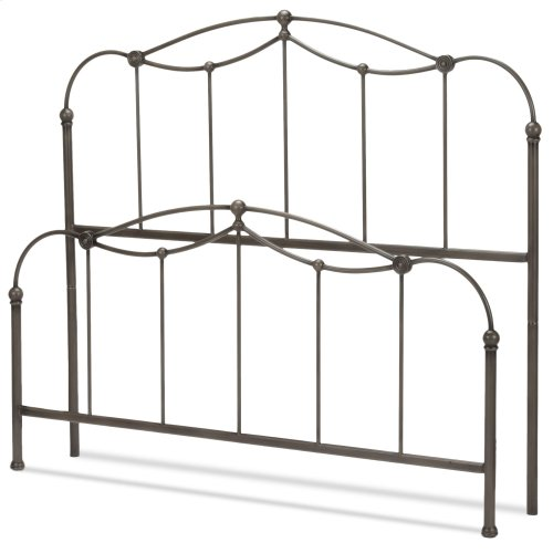 Affinity Metal Headboard and Footboard Bed Panels with Spindles and Detailed Castings, Blackened Taupe Finish, Full
