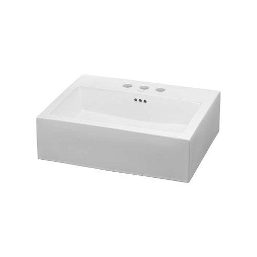 Rectangle Ceramic Vessel Bathroom Sink in White