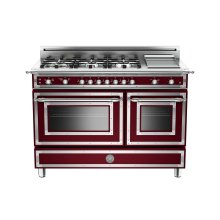 48 inch All Gas Range, 6 Brass Burner and Griddle Matt Burgundy