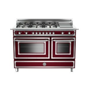 Bertazzoni48 inch All Gas Range, 6 Brass Burner and Griddle Matt Burgundy