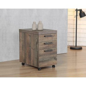 CoasterLuke Weathered Oak Mobile File Cabinet