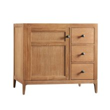 "Briella 36"" Bathroom Vanity Cabinet Base in Vintage Honey - Door on Left"