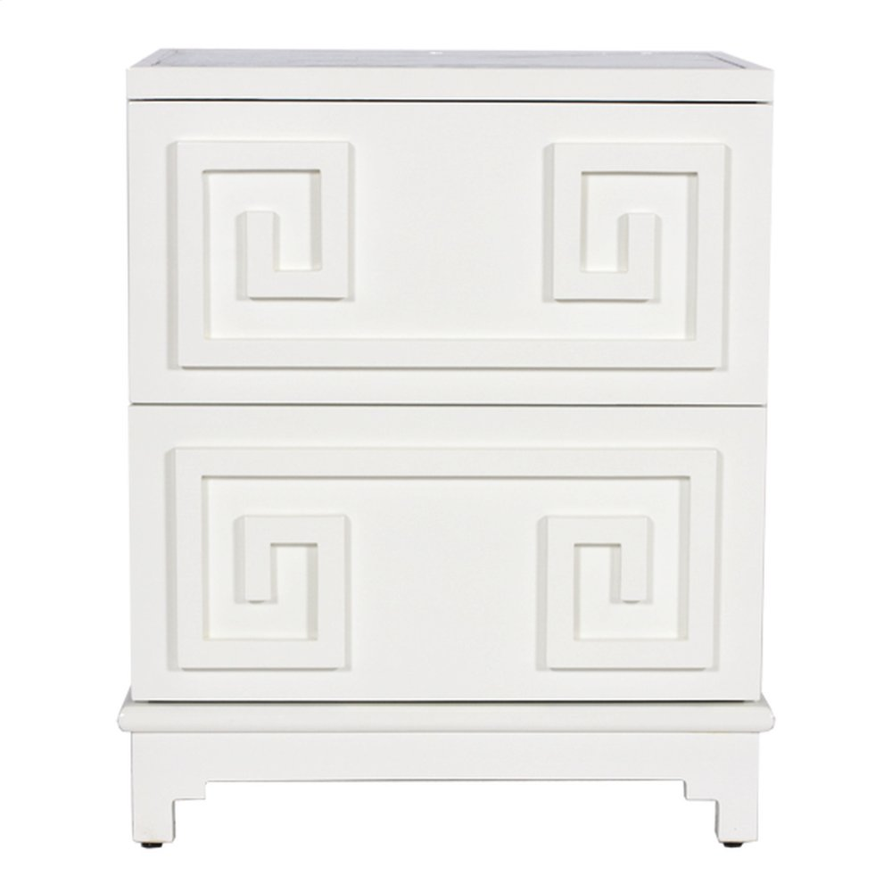 2 Drawer Greek Key Nightstand In White Lacquer and Beveled Mirror Top. Both Drawers On Glides.