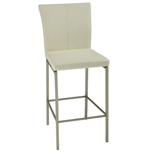 Cheyenne Bar Stool with Stainless Steel Finished Metal Frame, Stitching Detail and Glacier Faux Leather Upholstery, 30-Inch Seat Height