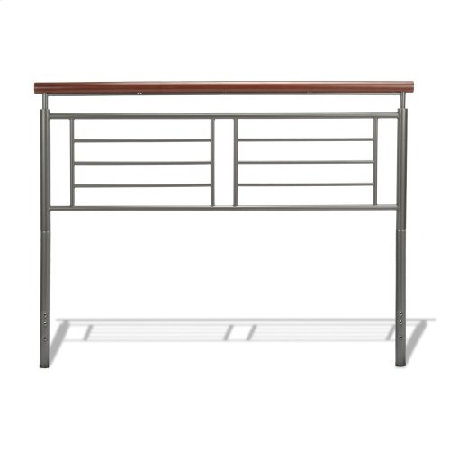 Fontane Metal Headboard with Geometric Panel and Rounded Cherry Top Rail, Silver Finish, Full