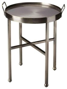 """A shimmering finish guarantees this accent table will stand out as special, even in the best furnished rooms. Providing a minimalist detail this iron forged table provides a cool, sleek look with its """"x base, ball feet. The side handles provide a steady p"""