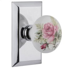Nostalgic - Single Dummy Knob - Studio Plate with White Rose Porcelain Knob in Bright Chrome