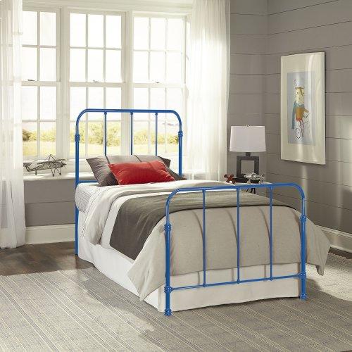 Nolan Fashion Kids Metal Headboard and Footboard Bed Panels with Fun Versatile Design, Cobalt Blue Finish, Full