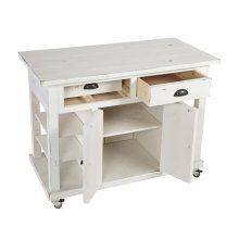 Kitchen Island w/ Doors - Distressed White Finish