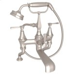 Satin Nickel Perrin & Rowe Deco Exposed Deck Mount Tub Filler With Handshower With Deco Metal Lever