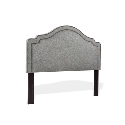 Beatrix Upholstered Headboard with Adjustable Height and Nailhead Trim, Ash Gray Finish, King / California King