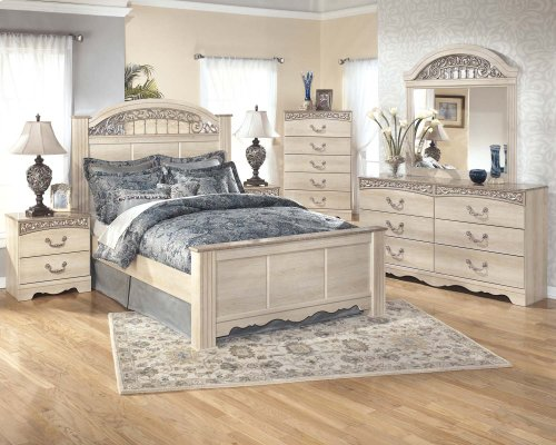 Catalina - Antique White 3 Piece Bed Set (Queen)