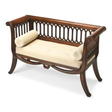 Inspired by an antique, this stunning settee features curved sides and a distinctive slat design on the sides and back panel. Its lightly distressed Plantation Cherry Finish gives this sette a formal yet inviting appearance. Crafted from select hardwood s