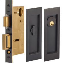 Pocket Door Lock with Traditional Rectangular Trim featuring Turnpiece and Keyed Entry in (US10B Oil-Rubbed Bronze, Lacquered)