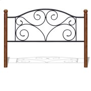 CLEARANCE ITEM--Doral Metal Headboard Panel with Decorative Scrollwork and Walnut Colored Wood Finial Posts, Matte Black Finish, Queen Product Image