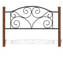 Doral Metal Headboard Panel with Decorative Scrollwork and Walnut Colored Wood Finial Posts, Matte Black Finish, Queen