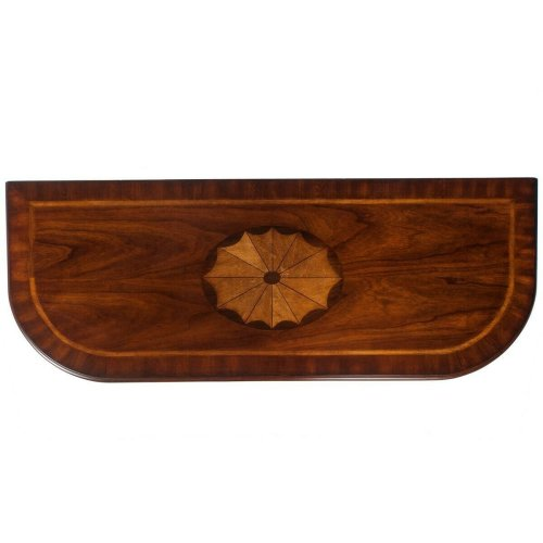 This classic Console Table features a meticulously handcrafted linen-fold inlay in cherry, maple and walnut veneers on top, stylized cabriole legs in a respendent Olive Ash Burl finish. Drawer with antique brass-finished hardware provides convenient stora