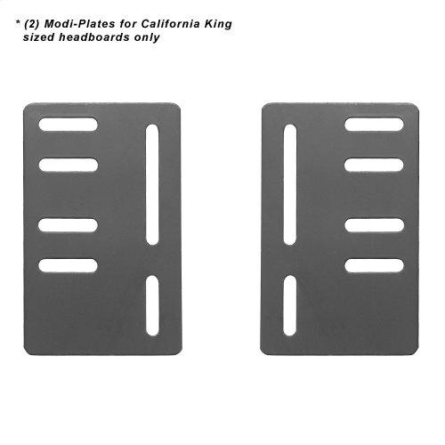 Russett Metal Headboard Panels with Modest Sloping Top Rail, Liquid Bronze Finish, California King