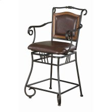 Brown Traditional Counter-height Stool