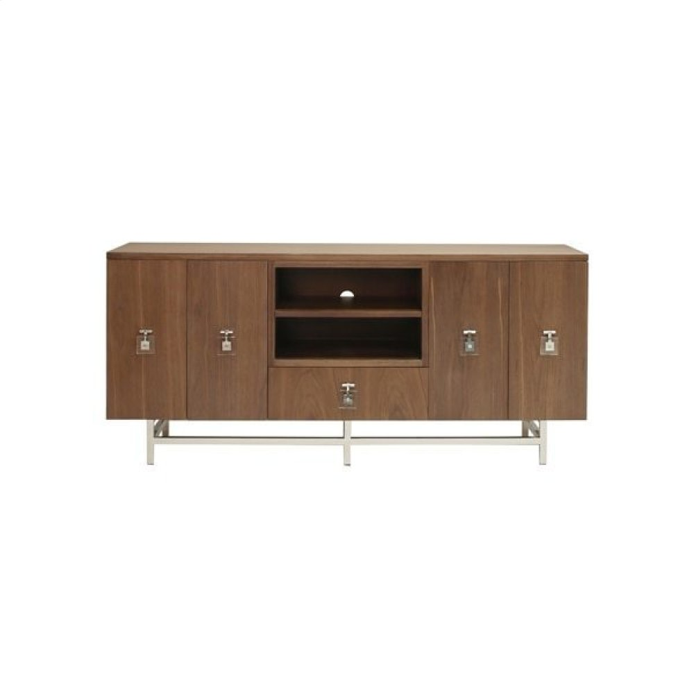 Ashwood Media Console With Nickel Base and Acrylic Hardware