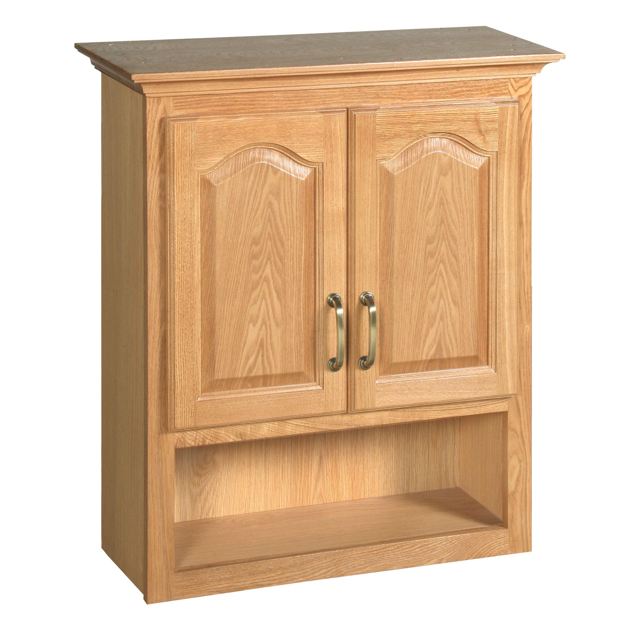 """Richland 2-Door Bathroom Wall Cabinet 27"""", Nutmeg Oak #552844"""