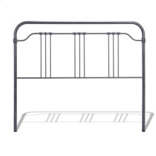Wellesly Metal Headboard Panel with Straight Spindles and Intricately Designed Casters, Marbled Navy Finish, Queen