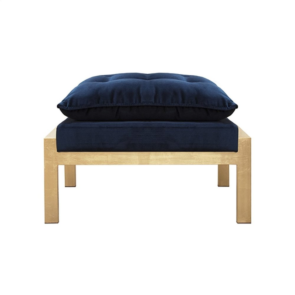 Gold Leaf and Navy Velvet Ottoman To Pair With the Cameron Gnavy Chair