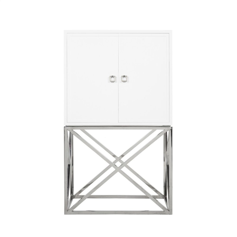 White Lacquer Bar Cabinet With Stainless Steele Hardware & Base