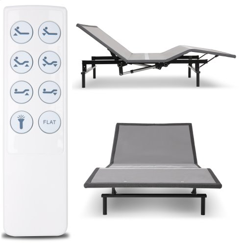 Raven Low-Profile Adjustable Bed Base with Simultaneous Movement and Wireless Flashlight Remote, Charcoal Gray Finish, Full