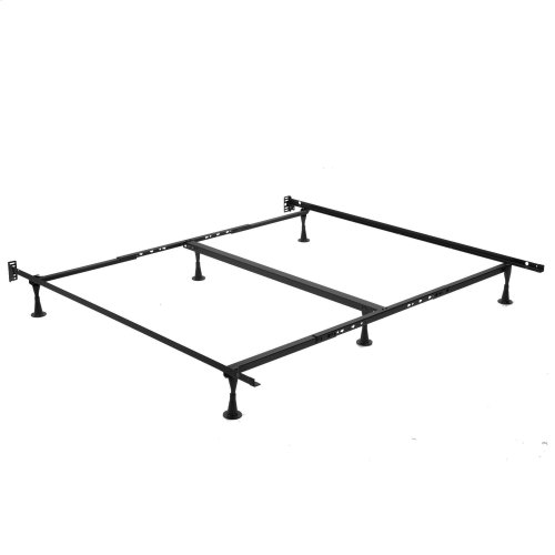 Sentry TK52G Universal Sized Single Angle Cross Support Bed Frame with Fixed Headboard Brackets and (6) 2.5-Inch Glide Legs