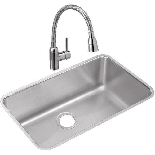 "Elkay Lustertone Classic Stainless Steel, 30-1/2"" x 18-1/2"" x 11-1/2"", Single Bowl Undermount Sink and Faucet Kit"
