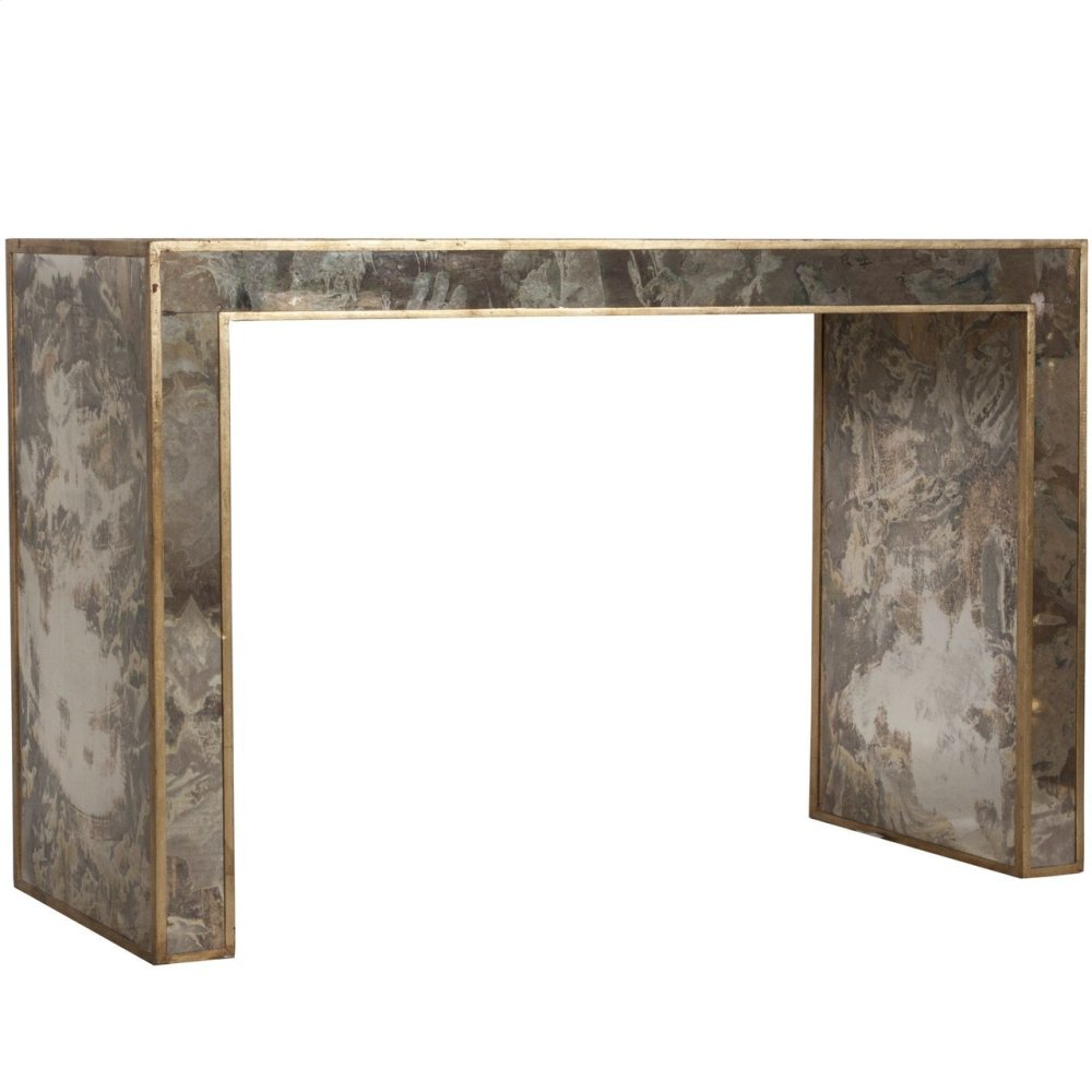 Reverse Antique Mirrored Console With Gold Leafed Edges.