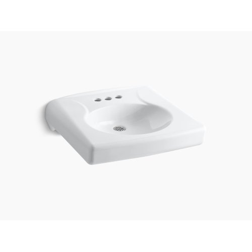 """White Wall-mounted or Concealed Carrier Arm Mounted Commercial Bathroom Sink With 4"""" Centerset Faucet Holes and No Overflow"""