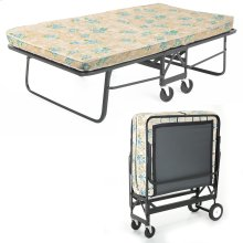 """Rollaway 1292P Folding Bed and 48"""" Fiber Mattress with Angle Steel Frame and Poly Deck Sleeping Surface, 47"""" x 75"""""""
