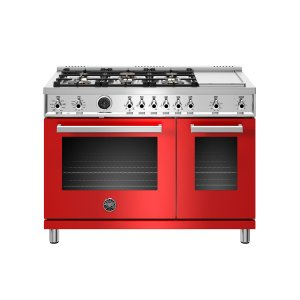 Bertazzoni48 inch Dual Fuel Range, 6 Brass Burners and Griddle , Electric Self Clean Oven Rosso