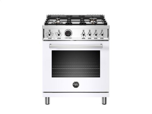 30 inch Dual Fuel Range, 4 Brass Burner, Electric Self-Clean Oven White