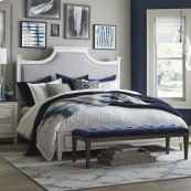 Queen/Aged Whitestone Bella Upholstered Panel Bed