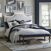 Queen/Aged Whitestone Bella Upholstered Panel Bed Product Image