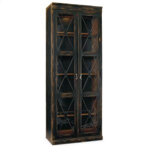 Hooker FurnitureLiving Room Sanctuary Two-Door Thin Display Cabinet - Ebony