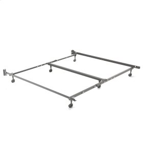 """Heritage KQ20R Premium Adjustable Bed Frame with Reversible Headboard Brackets and (6) 2"""" Locking Rug Rollers, Queen / California King"""