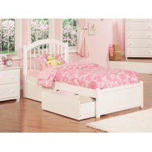 Windsor Twin XL Flat Panel Foot Board with 2 Urban Bed Drawers White
