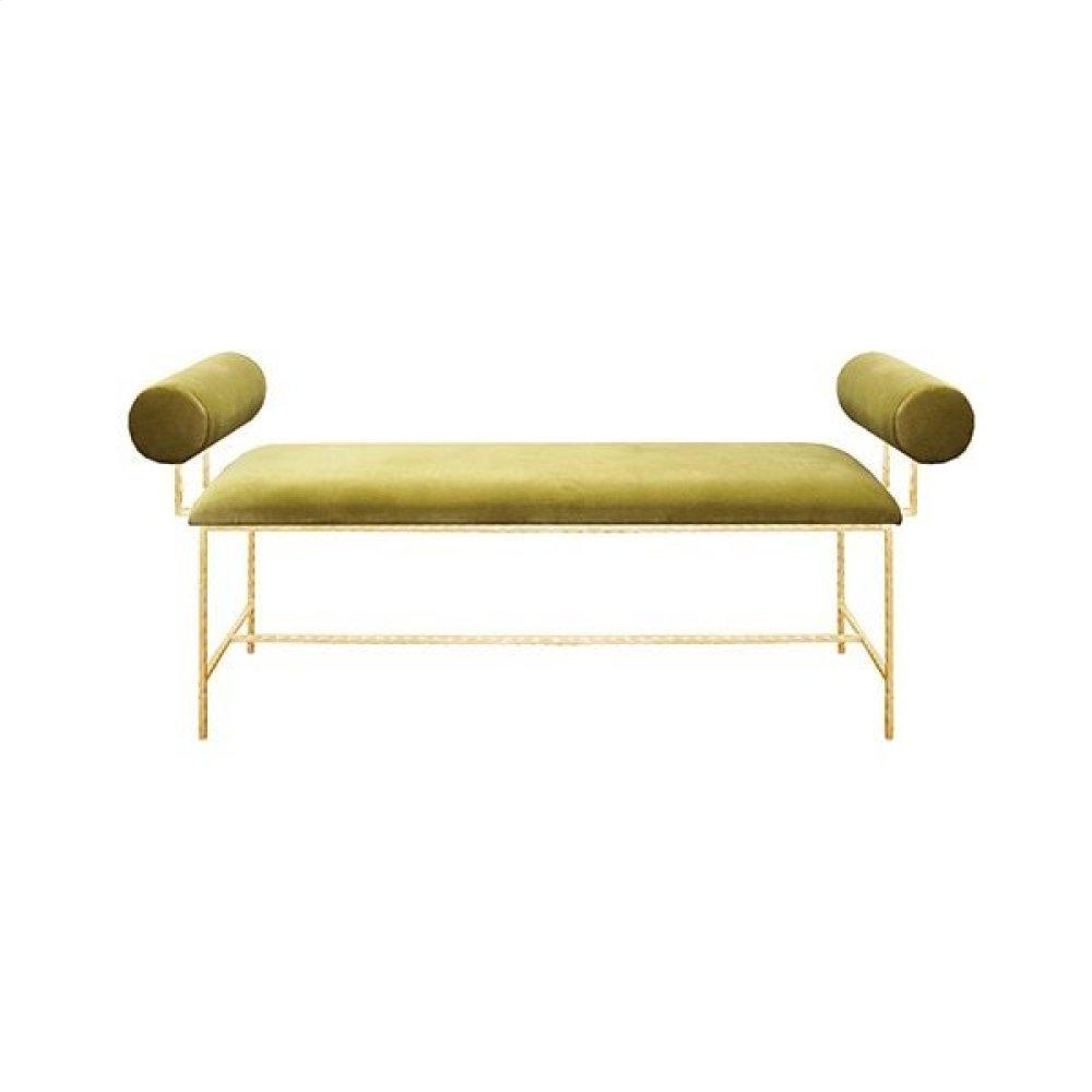 """Bolster Arm Gold Leaf Bench In Lime Green Velvet - Seat Height 17"""""""
