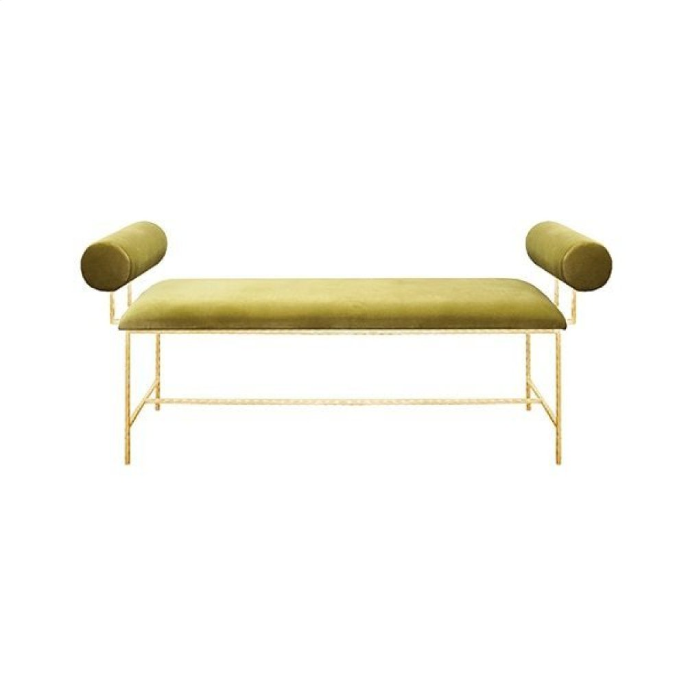 Bolster Arm Gold Leaf Bench In Lime Green Velvet - Seat Height 17""