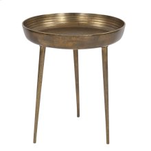 Round Antique Brass Tray Table, Large