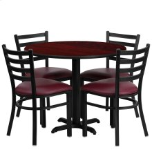 36'' Round Mahogany Laminate Table Set with 4 Ladder Back Metal Chairs - Burgundy Vinyl Seat
